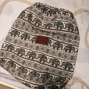 Handbags - Elephant print drawstring canvas bag